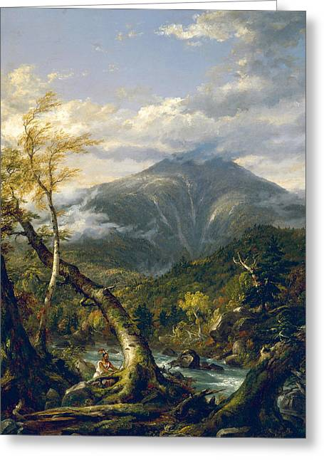 Indian Pass Greeting Card by Thomas Cole