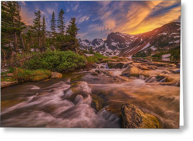 Indian Peaks Sunset Greeting Card by Darren  White