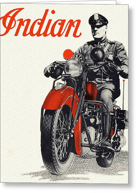Indian Police Motorcycle Greeting Card