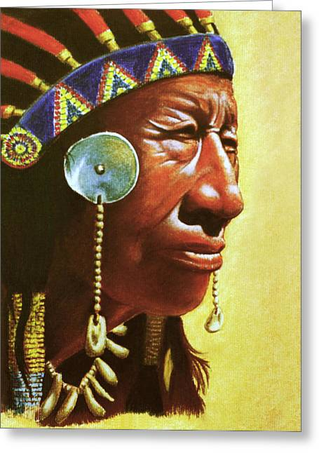 Indian Portrait Greeting Card by Martin Howard