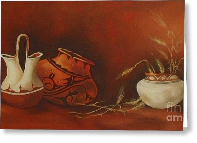 Indian Pottery With Wheat Greeting Card by Ann Kleinpeter
