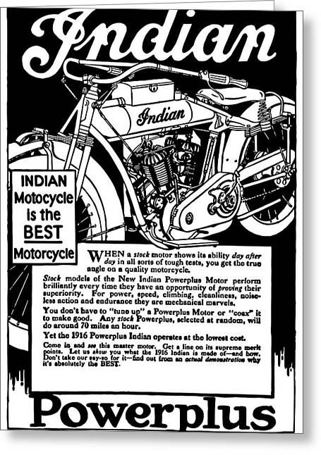 Greeting Card featuring the digital art Indian Power Plus Motocycle Ad 1916 by Daniel Hagerman