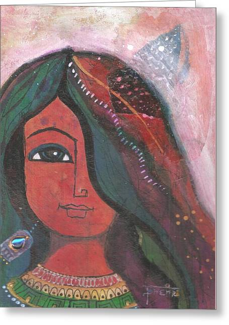 Greeting Card featuring the mixed media Indian Rajasthani Woman by Prerna Poojara