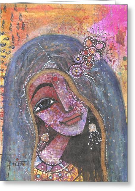 Greeting Card featuring the mixed media Indian Rajasthani Woman With Colorful Background  by Prerna Poojara