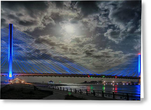 Indian River Bridge Moonlight Panorama Greeting Card