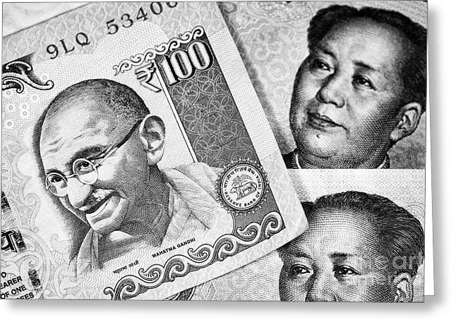 Indian Rupee And Chinese Yuan Renminbi Banknotes by Joe Fox