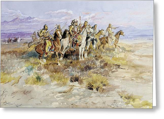 Indian Scouting Party Greeting Card