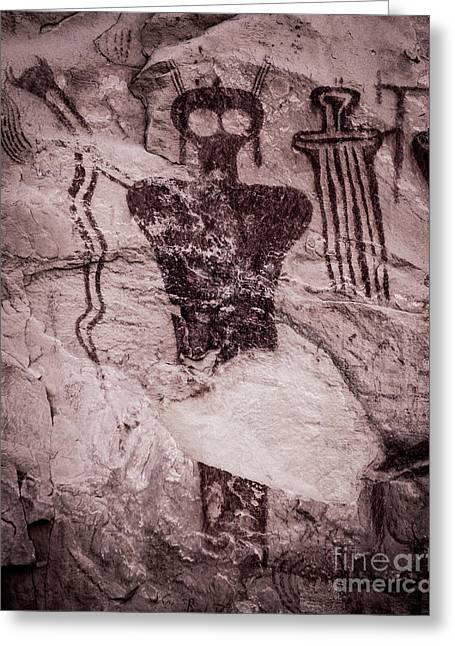 Indian Shaman Rock Art Greeting Card by Gary Whitton