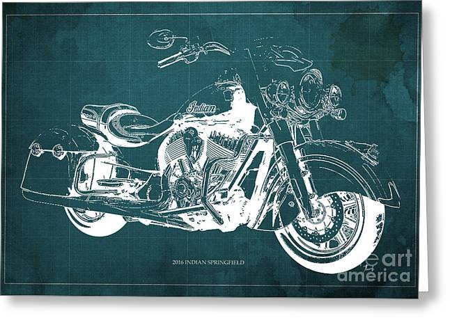 Indian Springfield 2016 Blueprint Art Vintage Background Greeting Card