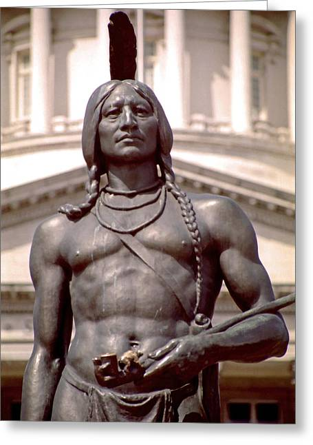 Indian Statue At Utah State Capitol Greeting Card by Steve Ohlsen