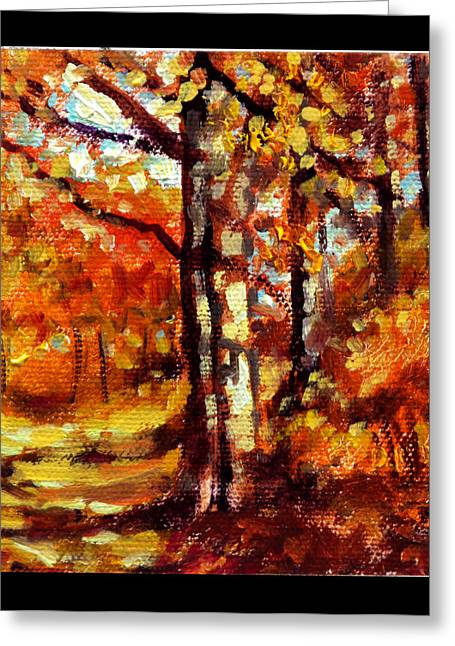 Fall Scenes Greeting Cards - Indian Summer detail thirteen Greeting Card by John Lautermilch