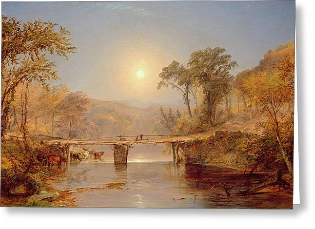 1823 Greeting Cards - Indian Summer on the Delaware River Greeting Card by Jasper Francis Cropsey