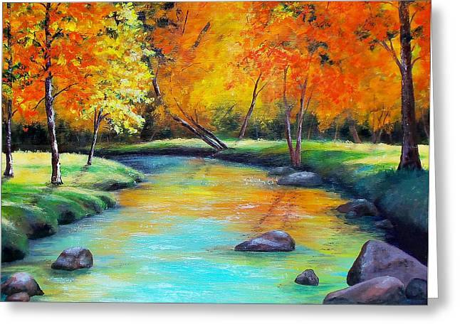 Oak Creek Greeting Cards - Indian Summer Greeting Card by Susan DeLain