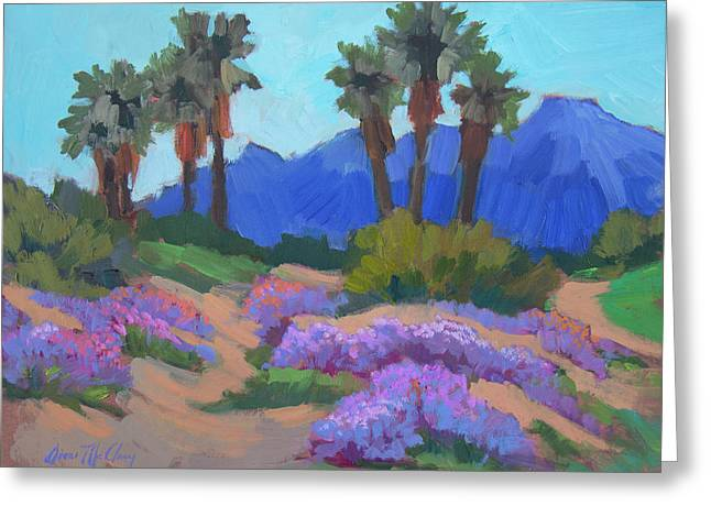 Greeting Card featuring the painting Indian Wells Verbena by Diane McClary