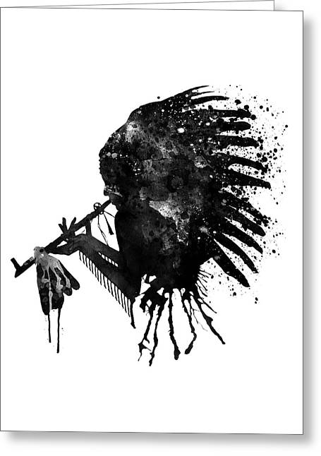Indian With Headdress Black And White Silhouette Greeting Card by Marian Voicu