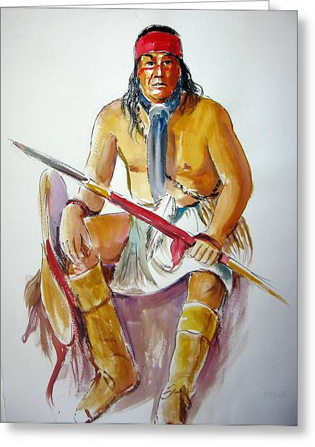 Indian With Spear Greeting Card by Murray Keshner