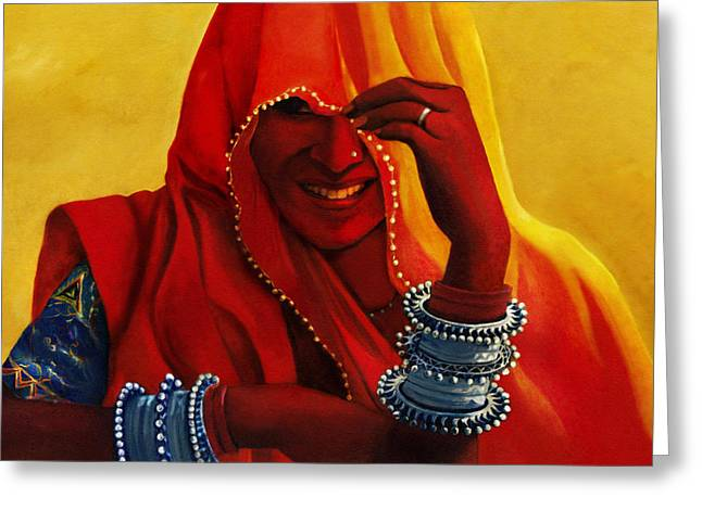 Indian Woman In Veil Greeting Card