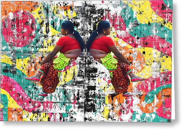 Indian Woman Portrait Greeting Card by Sumit Mehndiratta
