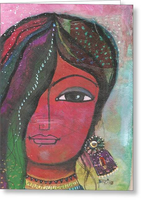 Indian Woman Rajasthani Colorful Greeting Card