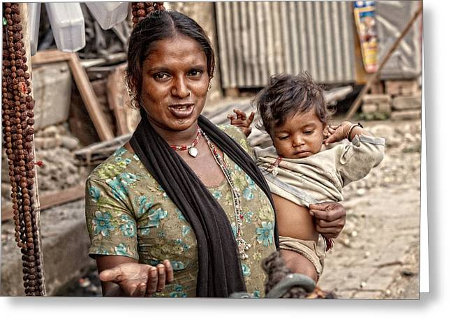 Indian Woman With A Child Greeting Card