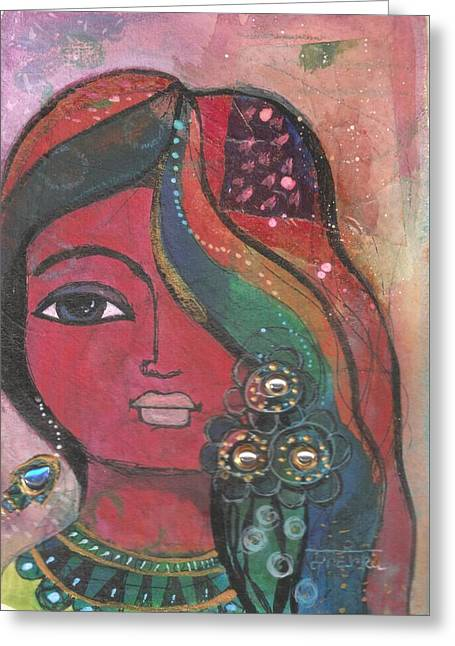 Greeting Card featuring the mixed media Indian Woman With Flowers  by Prerna Poojara