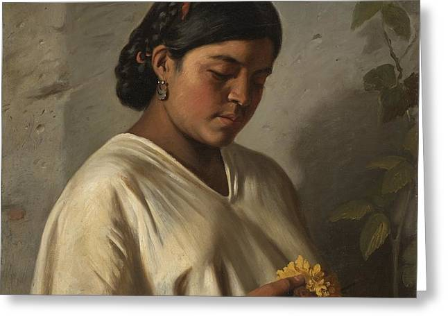 Indian Woman With Marigold Greeting Card