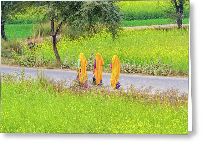 Indian Women On A Village Road. Greeting Card
