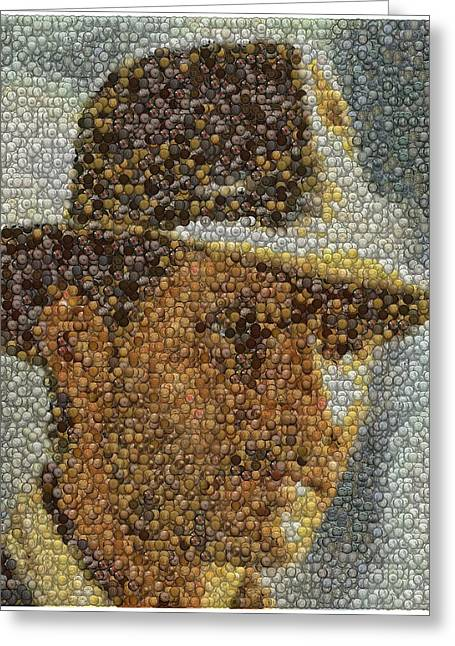 Greeting Card featuring the mixed media Indiana Jones Treasure Coins Mosaic by Paul Van Scott