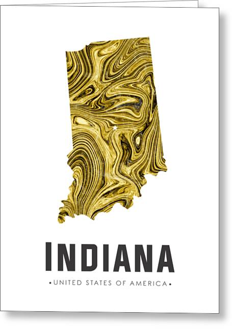 Indiana Map Art Abstract In Gold Yellow Greeting Card