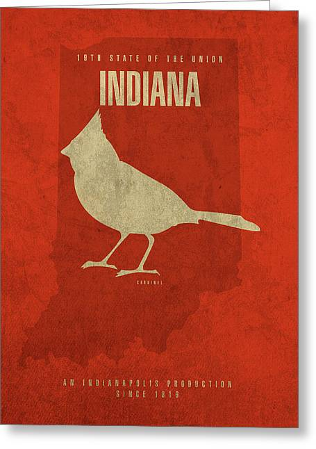 Indiana State Facts Minimalist Movie Poster Art Greeting Card by Design Turnpike