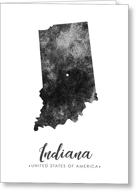 Indiana State Map Art - Grunge Silhouette Greeting Card