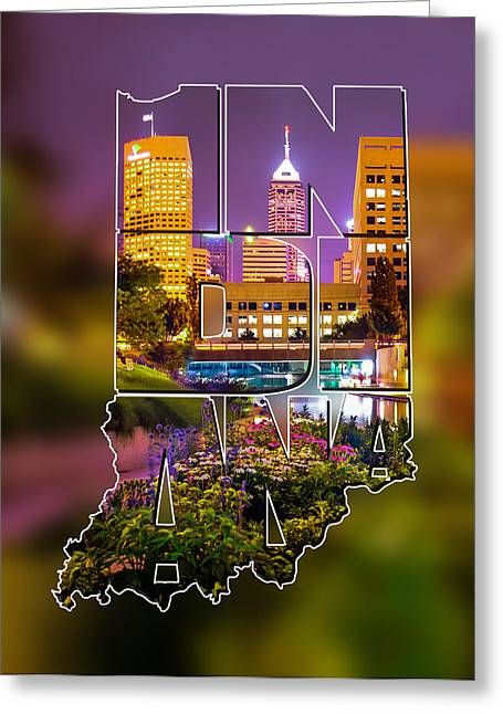 Indiana Typographic Blur - Downtown Indianapolis Skyline At Night - United States Artwork Greeting Card by Gregory Ballos