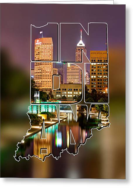 Indiana Typographic Blur - Indianapolis Skyline - Canal Walk Bridge View - State Shapes Series Greeting Card by Gregory Ballos