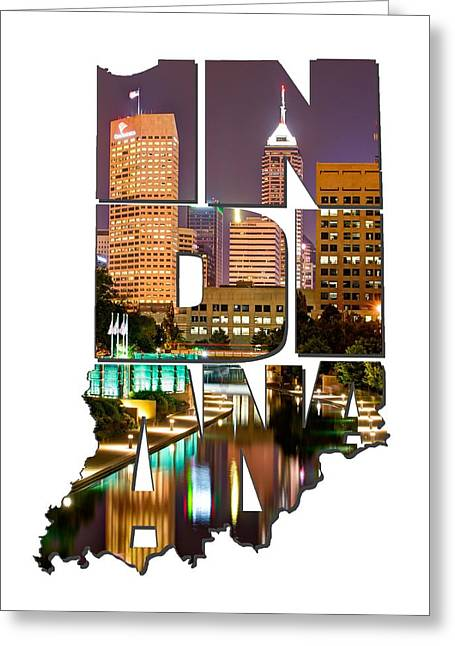 Indiana Typography - Indianapolis Skyline - Canal Walk Bridge View Greeting Card by Gregory Ballos