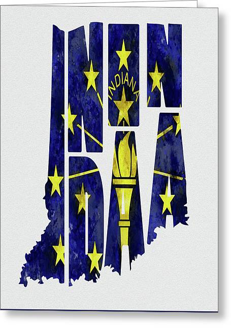 Indiana Typography Map Flag Greeting Card by Kevin O'Hare