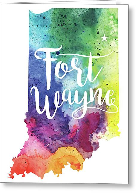 Indiana Watercolor Map - Fort Wayne Hand Lettering  Greeting Card by Andrea Hill