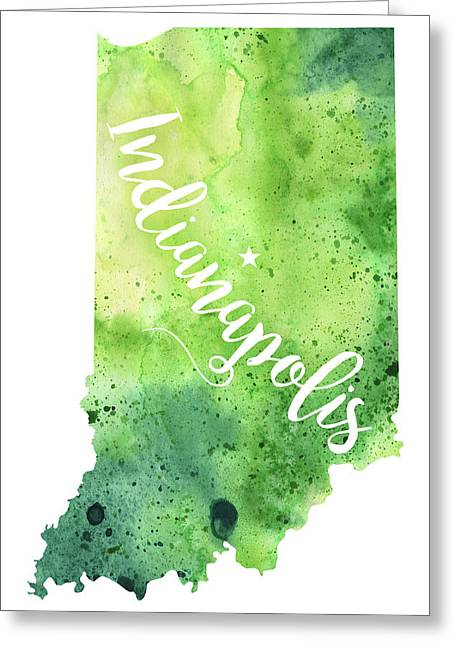 Indiana Watercolor Map - Indianapolis Hand Lettering  Greeting Card by Andrea Hill