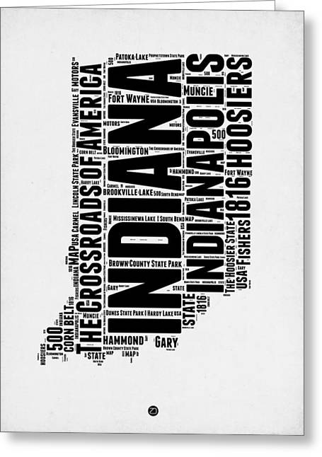 Indiana Word Cloud Map 2 Greeting Card by Naxart Studio