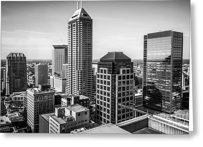 Indianapolis Aerial Black And White Photo Greeting Card