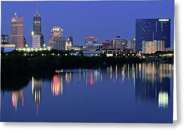 Indianapolis Blue Hour Greeting Card by Frozen in Time Fine Art Photography