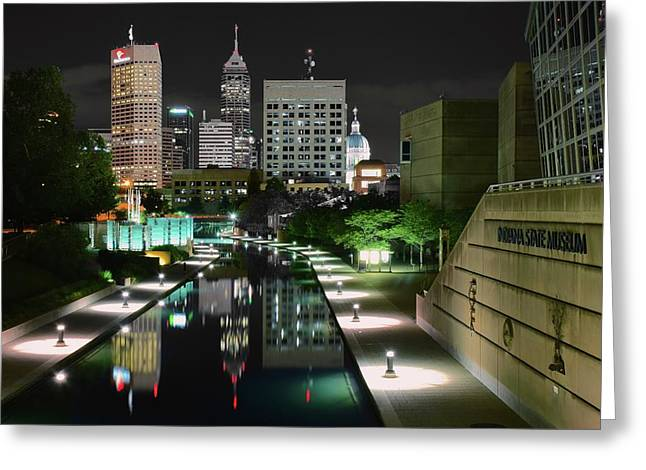 Indianapolis Canal Night View Greeting Card