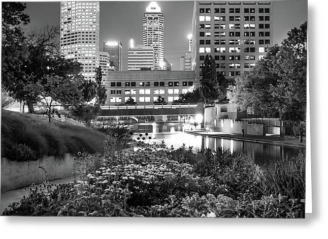 Indianapolis Canal Walk Skyline Black And White 1x1  Greeting Card by Gregory Ballos