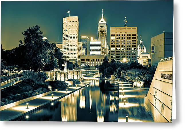 Indianapolis Downtown City Skyline - Sepia Burn Greeting Card