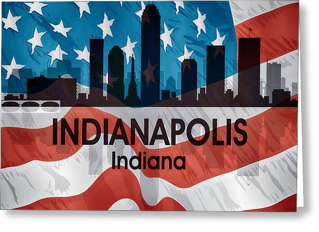 Indianapolis In American Flag Squared Greeting Card