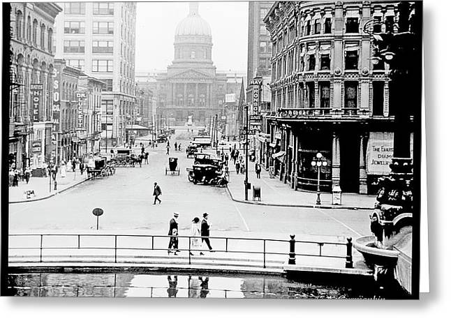 Indianapolis, Indiana, Downtown Area, C. 1915, Vintage Photograp Greeting Card