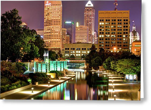 Indianapolis Indiana Skyline And Canal Walk At Night Greeting Card