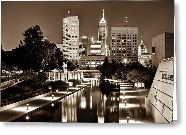Indianapolis Indiana Skyline At Night - Sepia Edition Greeting Card