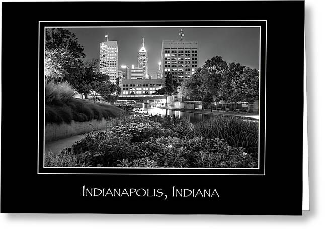 Indianapolis Indiana Skyline City Name Print - Black And White Greeting Card
