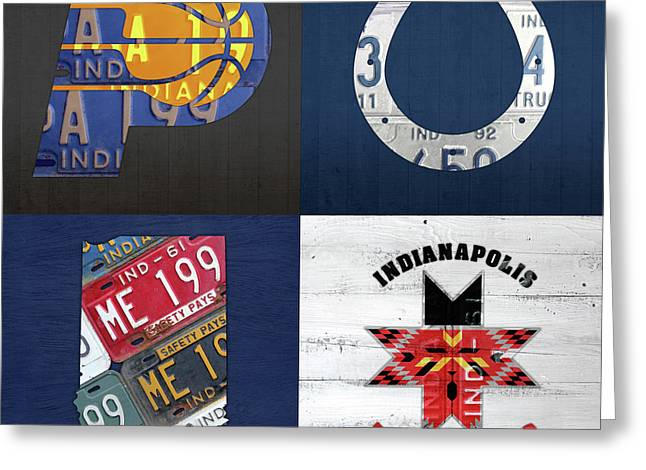 Indianapolis Indiana Sports Team License Plate Art Collage Map Pacers Colts Indians Greeting Card