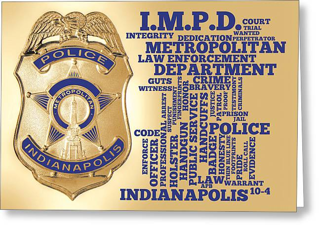 Indianapolis Metropolitan Police Department Gold Greeting Card by Dave Lee